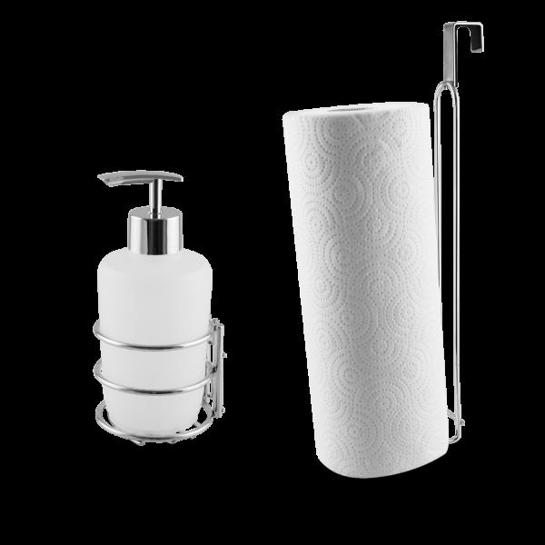 Seifenspender und Tuchhalter