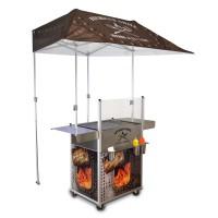 mobiler Grillstand mit Seitenablagen + Dach