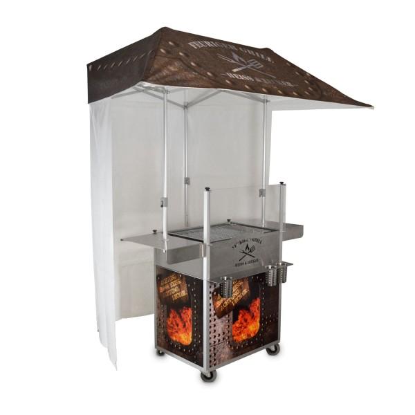 mobiler Grillstand mit Seitenablagen + Dach + Seitenwänden